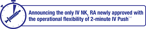 Announcing the only IV NK1 RA newly approved with the operational flexibility of 2-minute IV Push1-4